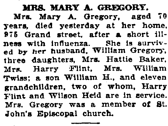 Mary A Downs Gregory Obituary 1919